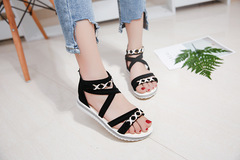 New fashion student fish mouth sandals wild thin anti-slip back zipper sandals women black 40