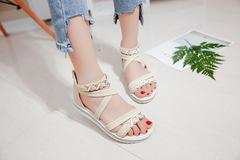 New fashion student fish mouth sandals wild thin anti-slip back zipper sandals women beige 35