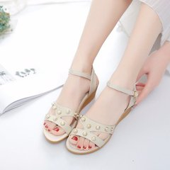 New style new sandals female open toe wedge with a word buckle with sandals beige 35