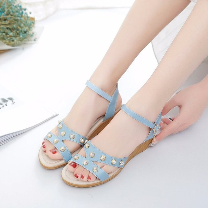 New style new sandals female open toe wedge with a word buckle with sandals blu 40