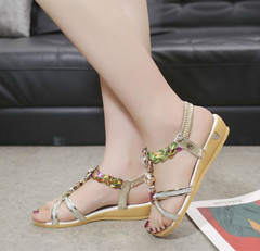 Sandals round flowers Roman fashion flat beach comfortable outside wearing rhinestone women's shoes gold 35