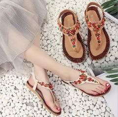 w Europe and America large size sandals women's bohemian toe ball national wind flat sandals beige 36