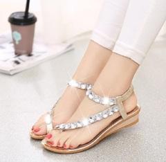 Sandals women's new flat bottom rhinestone toe beach shoes bohemian wedge heel sandals gold 35
