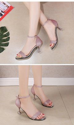Sandals Women 2019 New Simple Fashion Sequins High-heeled Sandals pink 36