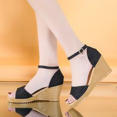 "New summer sandals for women wearing high heels with one-button heels""Hand machine""手机镜子清除键防治蛀"""" black 35"