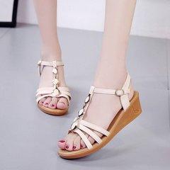Summer 2019 New Slip-heeled Casual Fashion Sandals Women's Slip-proof Button Women's Shoes beige 35