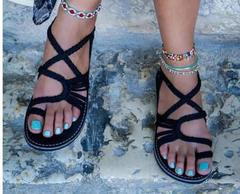 Women's sandals with toe-clip flat soles on beaches of Europe and America in summer black 35