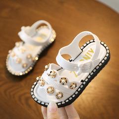 Summer new beach shoes children's plastic sandals girls children's shoes princess shoes beige 35