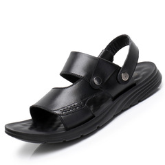 Men's leather beach shoes large size leather platform non-slip sandals and slippers black 38