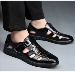 New summer men's sandals, leather casual shoes, cowhide wear-resistant hollow leather shoes black 38