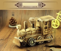 Natural wood craft display piece creative gift child locomotive furniture display piece handicraft train 19*12*8