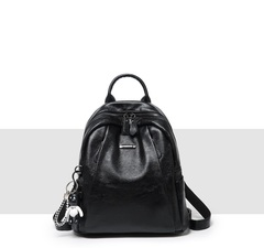 Fashion women's Knapsack Hundred Laps Casual Litchi Double Shoulder Bag black 29*14*31