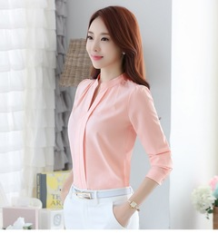 Long-sleeved four-way chiffon top sexy V-collar casual solid-color blouse for ladies pink s