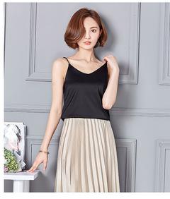New Summer Lmitation Silk Halter Waistcoat V-collar Sleeveless Ice Solid Top black s