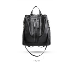 Double Shoulder Bag Women's Mew Soft Leather Fashion Backpack Travel Bag black 29*14*31