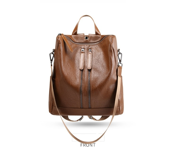7ff2378ab91f Double Shoulder Bag Women s Mew Soft Leather Fashion Backpack Travel ...
