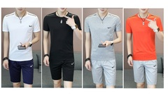 Men Teenager Modern Stylish Simple Leisure T-shirts+Shorts Hydroscopic Fast Dry Sportswear Sets l gray