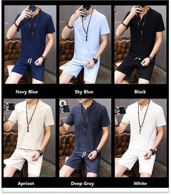 Summer Men Cotton And Linen Plus Size Leisure T-shirts+Shorts Hydroscopic Fast Dry Sportswear Sets m black