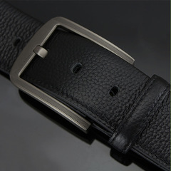 Leather Belt Man Needle Buckle Male Waistband Layer Pure Cowhide Simple Casual Pants Of Youth black 110cm