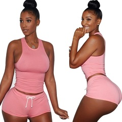 Hot Sale Women 2 Piece Set Plus Size Cotton Polyester Tight Stretch Tracksuit Sports Fitness Suit s pink