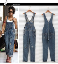 Sell Europe and America to break hole baggy bull-puncher suspender pants hot blue s