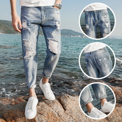 High Quality Men  Leisure  Ninth Pants Hollow Frayed Ripped Denim Slim Straight Jeans blue 27