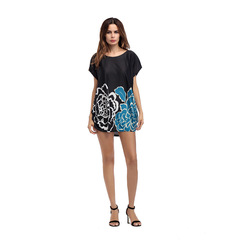 Women Summer Plus Size Loose Short Sleeve Ice Silk Floral Printed O-neck T-shirt free size photo color