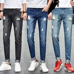 3 ColorsMen Modern StylishLeisure Ninth Pants Hollow Frayed Ripped Denim Slim Straight Jeans blue 28