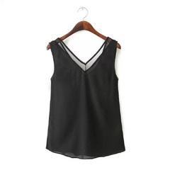 New 2018 Euro-American Summer Pure Color V-Neck Gauze Splicing Vest T-Shirt Chiffon Women black s