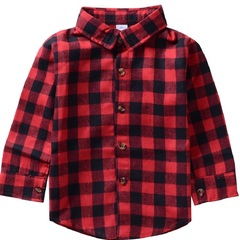 Boys' and girls' long-sleeved plaid cotton shirts children's garments red+black 90cm