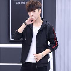 Autumn Winter Men Casual Jacket Simple Modern Stylish Slim Long Sleeve Zipper Cardigan Hoodie Coat black m