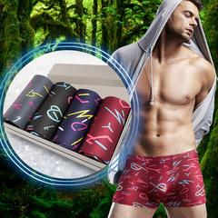 4pcs/box Men Plus Size Comfortable Skin Friendly Breathable Milk Silk U Convex Crotch Boxers Shorts as photo xl