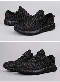Grand Sale Men  Women  Breathable Skidproof Wear-resistant Flyknit Yeezy Boost  Sports Jogging Shoes  black+black 36