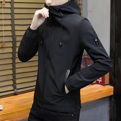 Mens coat new jacket version of the trend slim hat handsome versatile wear black m