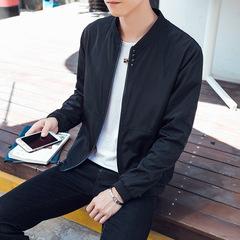 Mens coat new jacket version thin casual slim handsome versatilebesiness student wear black m