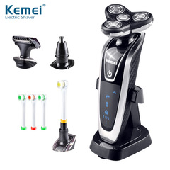 4 In1  Rotatable Four Blade Waterproof Electric Shaver+ Hair&Vibrissa Clipper + Toothbrush as photo one size