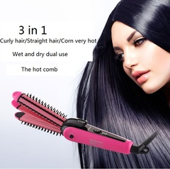 3 in 1 Wet and Dry Dual Use Hair Curler Curling Iron +Straightener Flat + Corn Plate Hair Curler pink one size