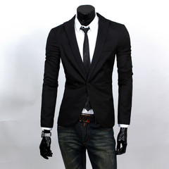9 Colors Korean Style Men Teenager Solid Color Slim Casual Small Suit Jacket black m