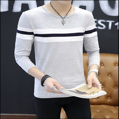 Autumn Men Teenager Casual Simple Noble Modern Stylish Slim Long Sleeve Pure Cotton gray m pure cotton
