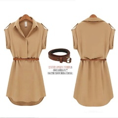 5 Colors Short Sleeved Shirt Loose Large Size Shows Slim Chiffon Dress Send The Belt khaki s