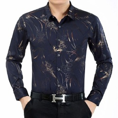 Men New Style Noble Modern Stylish Printed  Long Sleeve Turn-down Collar Shirt  Business Clothing blue1 165 soft close skin