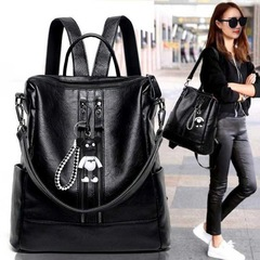 Ladies Fashionable  Waterproof Wear-Resistant Soft Comfortable Light Backpack/Shoulder Bag/Hand Bag black1 as photo