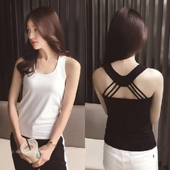 2 Pcs/Set Ladies Fashionable Casual Sexy Slim Hollow-out Elastic Reversible Cool Camisole black + white l