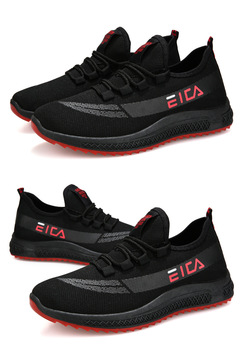Mens Fashionable Casual Soft Comfortable  Wear-Resistant Skidproof Breathable Sports Outdoor Shoes black+red 39