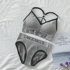 2019 new v-parachute topless back new threaded one-piece monogrammed undergarment set purplish grey free size