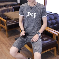 Summer Men Modish Skinfriendly Thin Cool Leisure T-shirts+Shorts Hydroscopic Fast Dry Sportswear gray m polyester fiber