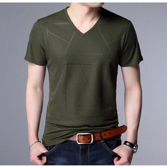 Three kinds of patterns Five Colors New Men's Jacquard V-neck Casual Comfort  Ventilate T-shirt green1 m Micro play