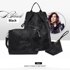 8 Styles camo printed waterproof Oxford shoulder bag is a three-piece simple all-purpose nylon black1 as photo
