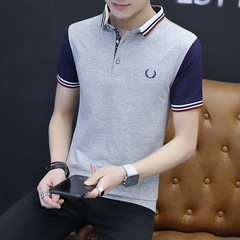 Spring Summer Men's Polo Shirt Pure Cotton  Trendy Sport Casual Turndown short sleeve Shirt gray xxl pure cotton