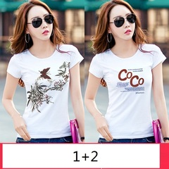 2Pieces womens summer 2019 Korean edition round neck short sleeve t - shirt student clothes 1+2 m